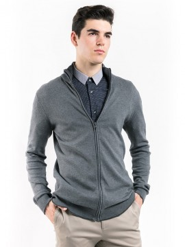 COTTON KNIT ZIP-UP CARDIGAN WITH PATCHED ELBOW