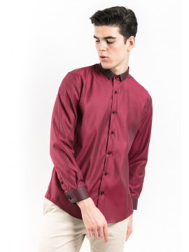 SLIM FIT PLAIN SHIRT WITH SPREAD COLLAR