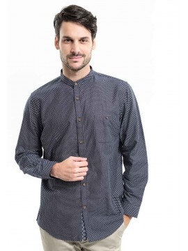 SLIM FIT LONG SLEEVES PATTERNED SHIRT WITH MOCK LAYER COLLAR