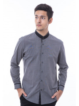 MANLY KEMEJA SLIM FIT SKIMORE DARK GREY